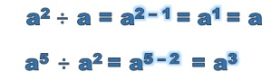 to divide terms with exponents, subtract the exponents