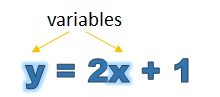 a linear equation with variables